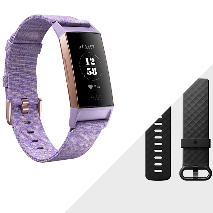 Fitbit Charge 3™ Special Edition, Lavender Woven/Rose Gold Aluminum