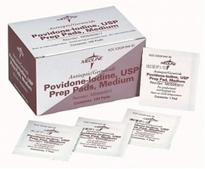 Povidone Iodine Prep Pads (100 per box)
